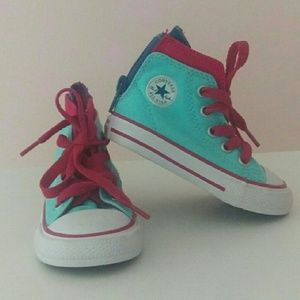 Pink and Blue High Top Converse Shoes Toddler Sz 4